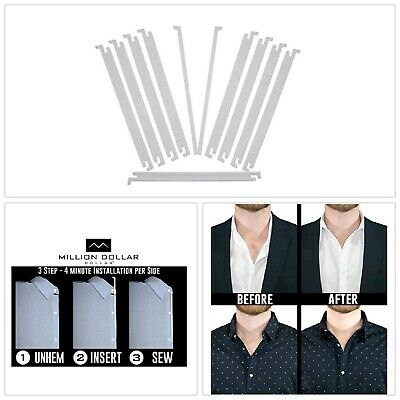 Million Dollar Collar Flexible Sewn in Dress Shirt Placket Stays Dress Shirts 10