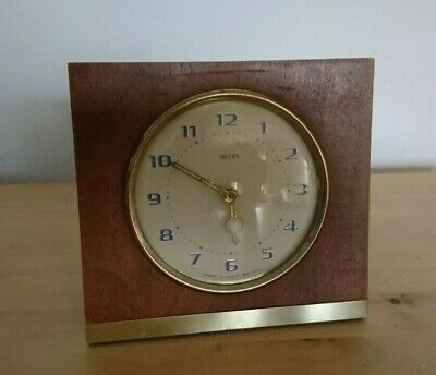 Vintage Retro Smiths Wooden Clock Fully Working Mahogany 14Cms Brass Edged