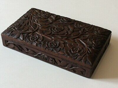 Carved Small Wooden Box Vintage