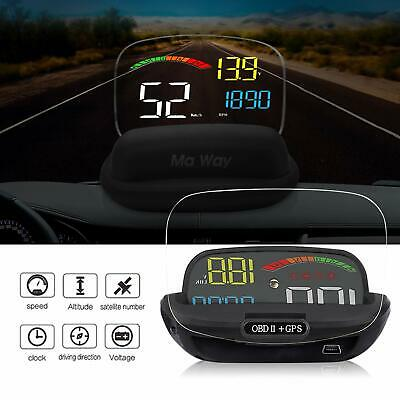 Car HUD Head Up Display, OBD II + GPS Interface, Speedometer KM/h & MPH Speeding