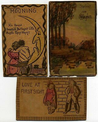 Early 1900's Leather Postcards, Lot of 17 cards