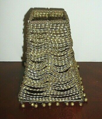 """Vintage Square Brass Chain Wrap Candle Votive Lamp Shade 6"""""""