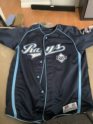 reputable site e191a 22587 TAMPA BAY RAYS Jersey Men's MLB Baseball True Fan Button-Down Team Color  Navy