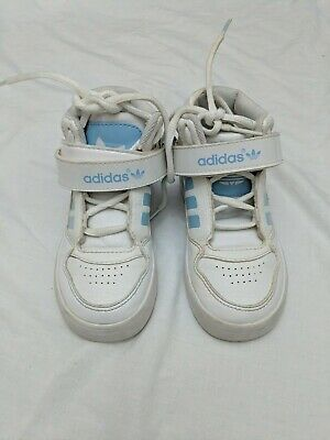 Girls Kids Adidas White Patent Blue High Tops Basketball Trainers Size 7.5 #4R3