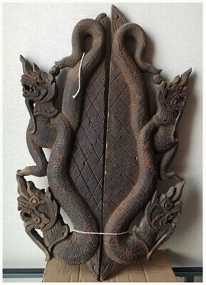 Thai - Burmese Traditional Old carved wooden panels - double serpent Teak Wood