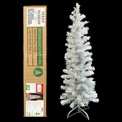 PRE-LIT SILVER TINSEL aluminum CHRISTMAS TREE with METAL STAND / 4 FT / NEW