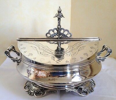Rare Wilcox Silver Plate Co. Server w. Pull up Handle - #2137