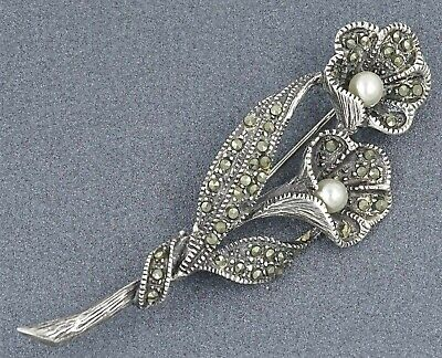 Vintage AUTHENTIC LADIES Sterling Silver 925 Pearl & Marcasite Brooch