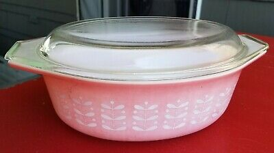Pyrex Pink Stems 043 1.5qt Casserole Dish with Lid - Promotional
