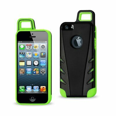 Reiko Iphone 5/5S/Se Dropproof Workout Hybrid Case With Hook In Black Green