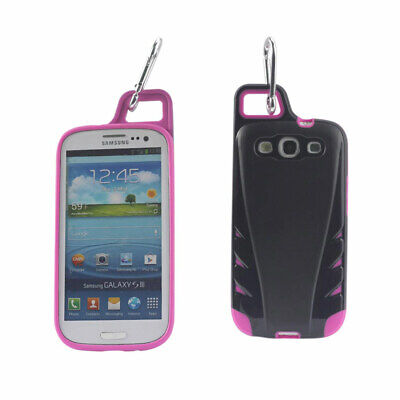 Reiko Samsung Galaxy S3 Dropproof Workout Hybrid Case With Hook Black Hot Pink