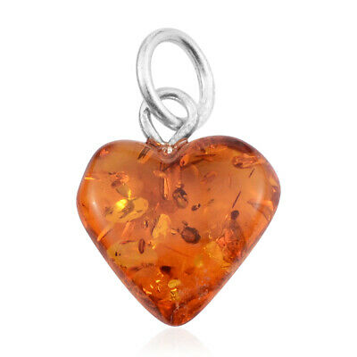 Amber 925 Sterling Silver Charm Love Heart Pendant Necklace Jewelry for Women