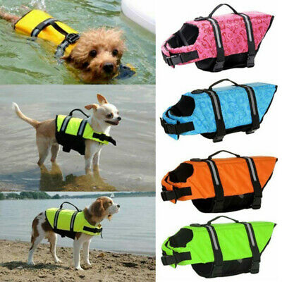 Dog Life Jacket Swimming Float Vest Reflective Adjustable Buoyancy Aid Pet  CA