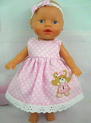 Dolls clothes ~32cm Little Baby Born~33cm Baby Alive Doll~ PINK SPOT BEAR DRESS