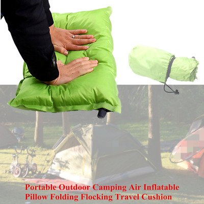 Folding Outdoor Hiking Camping Air Inflatable Pillow Flocking Travel Cushion Pad