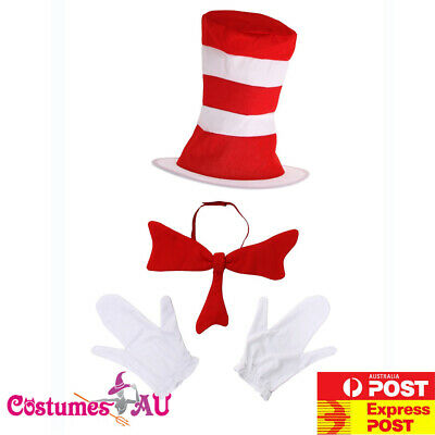Deluxe Kids Cat in the Hat Costume Dr Seuss Bow Tie Gloves Child Set Book Week