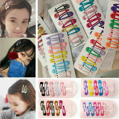 10Pcs Candy Color Glitter Hairpins Snap Hair Clip for Girls Barrettes BB Clips