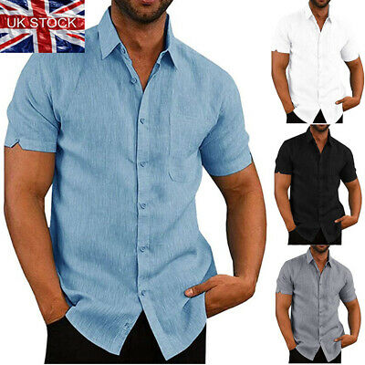 Mens Luxury Short Sleeve Summer Solid Shirts Casual Loose Dress Soft Tops Tee UK