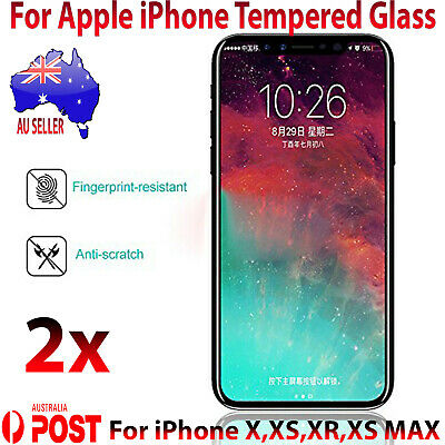 2x Premium Tempered Glass Screen Protector For iPhone X XS XS MAX XR Glass AU