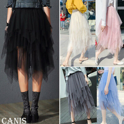 UK Women Lady Tulle Mesh Skirt Elastic High Waist Layers Pleated Maxi Long Dress