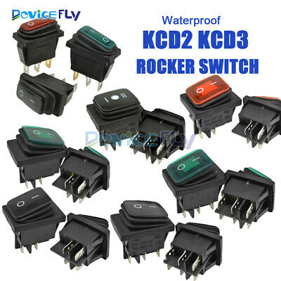 Waterproof KCD2 KCD3 Rocker Boat Button Terminals Switch 2/3Position ON/OFF