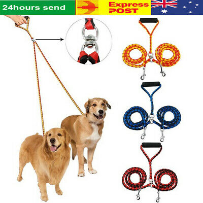 Dual Double Dog Leash No Tangle Coupler Pet Puppy Leash Adjustable 1 Lead 2 Way