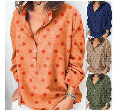 Womens Polka Dot V-Neck Button Shirts Summer Casual Long Sleeve Tops Blouse Tee