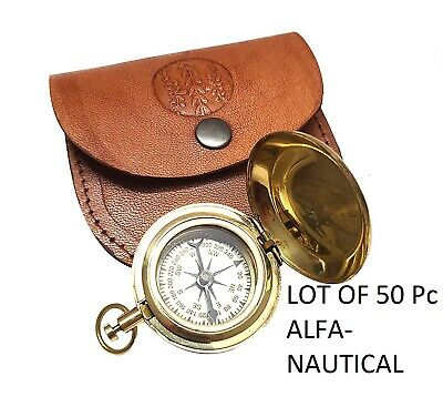 Brass Marine Dalvey push button Compass with Leather Box Lot of 50 Pcs