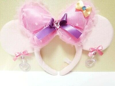 Disney Headband Tokyo Disneyresort Minnie Pink Ribbon Ears Hat   Japan F/S