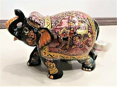 Procession Painting on Elephant Statue - Wooden Sculpture-Handmade Figurine 3""