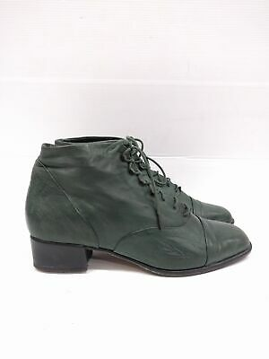 Sz 39.5 Vintage Ladies Green EVERYBODY mi ITALY Lace up leather ankle boots