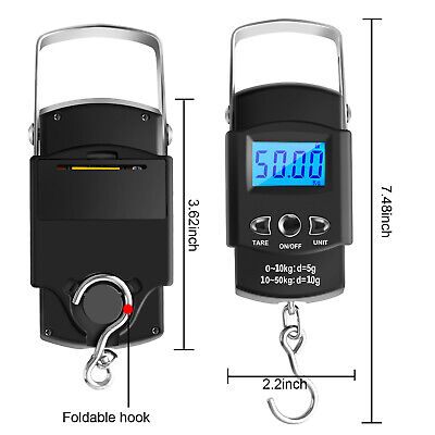 Hand LCD Electronic Digital Scale Travel Fish Luggage Postal Hanging Hook-Weight