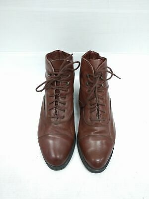 Sz 39 Vintage Ladies ITALY Brown Oxford lace up Flat Soft Leather ankle boots
