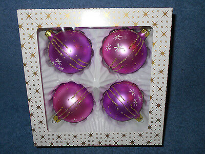 "Vintage Set Of 4 Decorated Pink & Purple 2 1/2"" Glass Ball Christmas Ornaments"