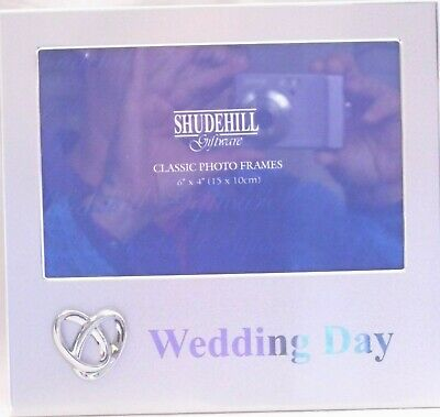 "Shudehill Classic ""MR & MRS"" Wedding Day Photo Frame With Raised Entwined Rings"