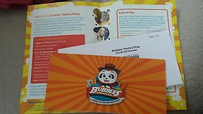 Bubbles World of Play New Brighton Gift Voucher Value £10 Kids Birthday Party