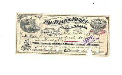 Gold Hill,  Nevada, Stock Certificate, Yellow Jacket Silver Mining Company  1886