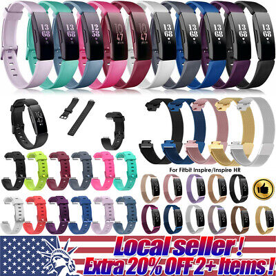 Silicone Stainless Steel Watch Band Wrist Strap For Fitbit Inspire/Inspire HR se