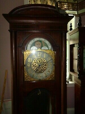 Large-Antique-Charles Jaques-Mahogany-6 Tube Grandfather Clock-Ca1915-To Restore