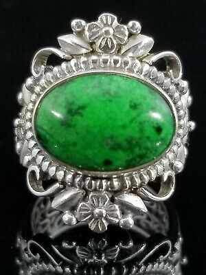 Signed Tibetan Green Turquoise 925 Sterling Silver Byzantine Shank Blossom Ring