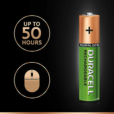 Duracell Ultra AAA Rechargeable Batteries NiMH 900mAh PreCharged Duralock 4 pcs