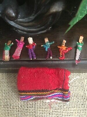 Guatemalan WORRY DOLLS - 6 Dolls with Multi Color Pouch