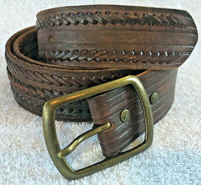 """American Eagle Mens Belt Leather Brown Brass Buckle Sz Large (38"""") - Very Nice"""