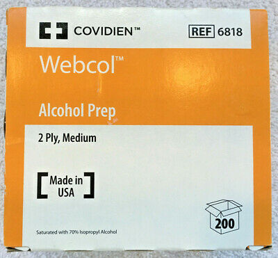 Covidien Webcol Sterile Alcohol Prep Pads 70% 2 Ply Medium 200 Pack - New Sealed