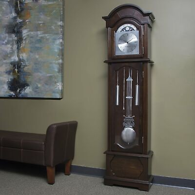 """Wood Antique 72"""" Grandfather Clock Floor Standing Vintage Chime Traditional Big"""