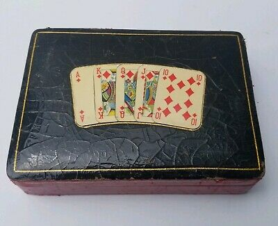 Vintage Double Deck Playing Cards Holder Storage  Made In Italy