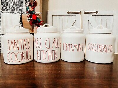 Rae Dunn GINGERBREAD, PEPPERMINT, MRS CLAUS'S & SANTAS COOKIES Canister Set Of 4