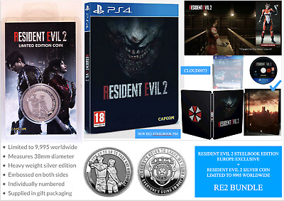 Resident Evil 2 Steelbook Limited Edition (PS4)+ DLC UK/EU w RE2 Silver Coin New
