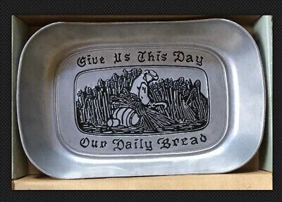 "Wilton Armetale PEWTER Bread Tray ""Give Us This Day Our Daily Bread"""