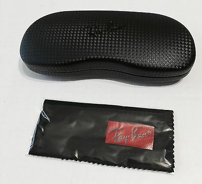 New Ray Ban Black Carbon Fiber Eyeglasses Hard Clam Shell Case w/cleaning Cloth